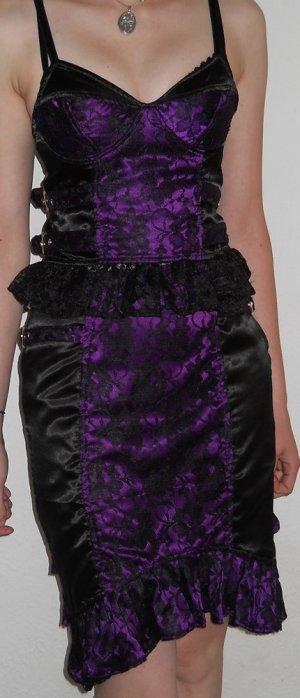 Kleid Kostüm 2-teilig lila schwarz Spitze Top Corsage Mieder + Rock S 36 gothic