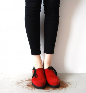 knallrote trachtenschuhe flats loafers halbschuhe39 vintage leder    / Rocky