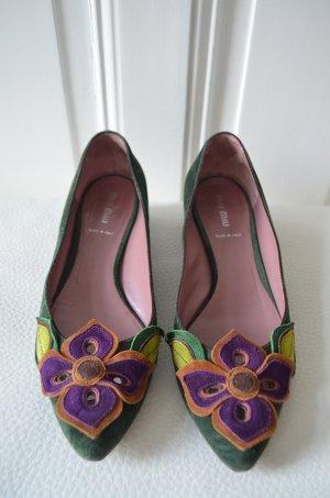 MIU MIU Damen Schuhe Halbschuhe Ballerinas Wildleder Blumen Dunkelgrün Lila 39,5