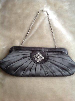 NEUE edle Abend-Handtasche mit Strass aus grauem Satin & mit Gliederkette