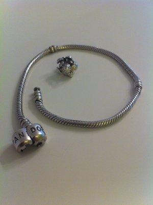 PANDORA 925 ARMBAND 23cm + Silber 3D BLUMEN BLÜTEN Blätter Element Charm Bead