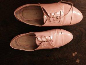 Pastell rosa zara halbschuhe lack schnürer 39