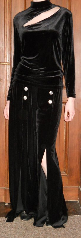 Samt Kostüm Hosenanzug Anzug Gr. 40 schwarz 80`er Jahre Vintage Retro