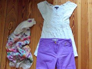 Set aus Top, Hose und Tuch lila
