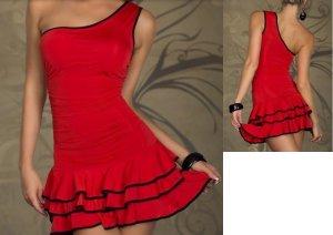 SEXY SCHULTERFREIES Flamenco COCKTAILKLEID Minikleid Partykleid M L 38 40 ROT NE