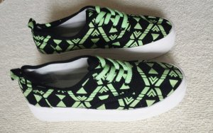 Sneakers Turnschuhe Plateau Platform Ethno Muster Glow In The Dark Neon
