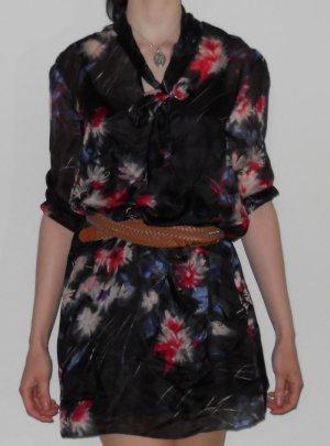Sommer Kleid Minikleid Tunika schwarz Seide Gr. XS 34 vintage