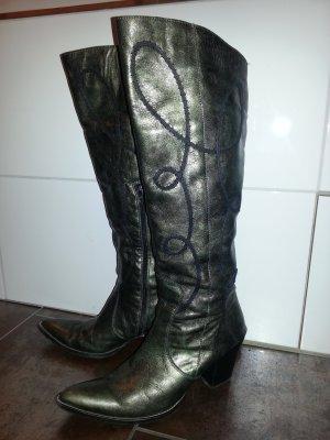 Stiefel in grün dezent-metallischem Echtleder ~ mit Applikationen ~ Gr. 40