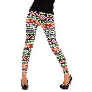 Super farbenfreudige Leggings mit norwegischen Muster