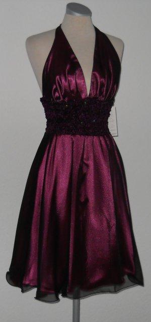 Taft Chiffon Satin Kleid Gr. S M 38 Neckholder AbendkleidAbi Hochzeit