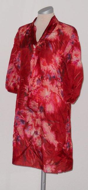 Tunika Longtop Kleid Seide rot lila Schluppenbluse Gr. M 38
