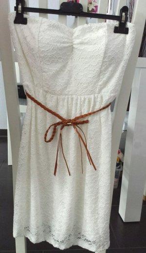 Vintage Häkel Minikleid Bandeau Kleid Spitze Weiß 34 36 38