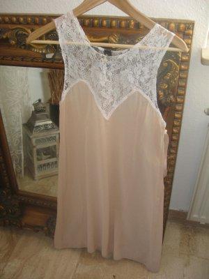 Vintage Kleid altrosé, weiße Spitze, Gr. S
