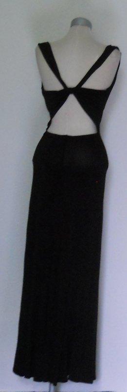 Wasserfall Kleid + Schleppe bodenlang lang Abendkleid schwarz Gr. 36 38 gothic
