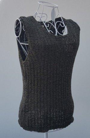 Savannah Top lavorato a maglia cachi Tessuto misto
