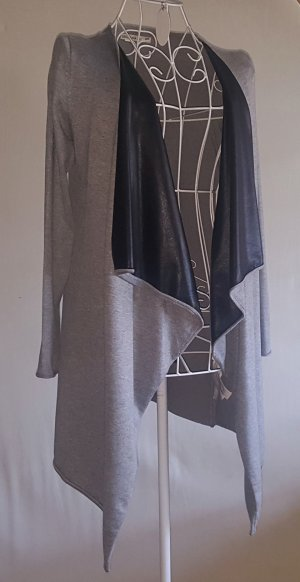 Zara Gilet long tricoté gris-noir tissu mixte
