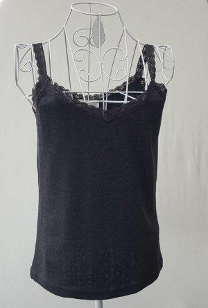 Lisa Campione Haut basique gris anthracite tissu mixte