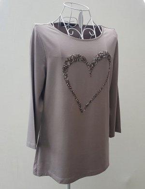 Betty Barclay Shirt grijs-bruin Gemengd weefsel