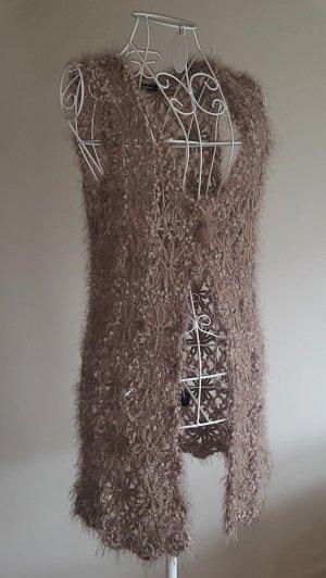 Betty Barclay Long Knitted Vest light brown mixture fibre
