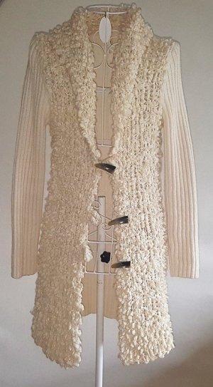oui Moments Gilet long tricoté blanc cassé tissu mixte