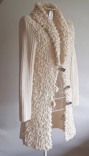 Oui Gilet long tricoté blanc cassé-crème tissu mixte