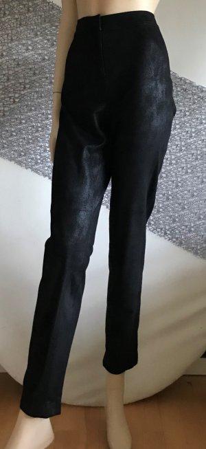 Luisa Cerano Pantalón de cuero negro tejido mezclado