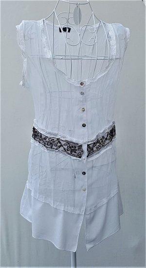 Apanage Mouwloze blouse wit-donkerbruin Gemengd weefsel
