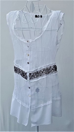 Apanage Blusa blanco-marrón-negro tejido mezclado