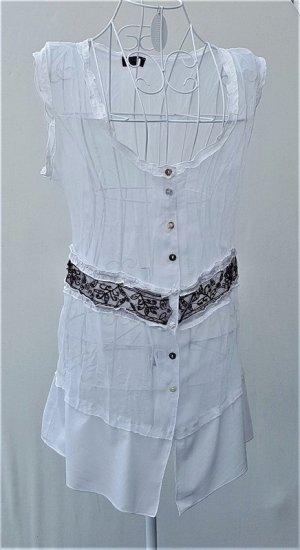 Apanage Mouwloze blouse wit-zwart bruin Gemengd weefsel