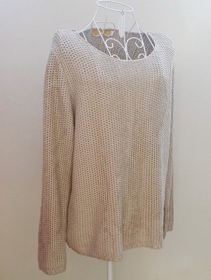 Biba Crochet Sweater sand brown-gold-colored mixture fibre