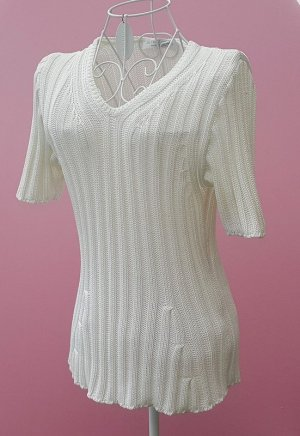 Le Tricot Longhin Short Sleeve Sweater white cotton