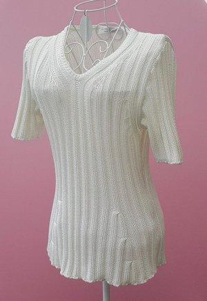 Le Tricot Longhin Maglione a maniche corte bianco Cotone