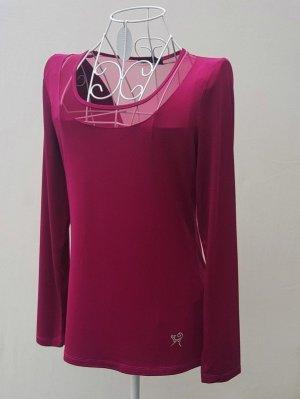 Viccio Barcelona Top maillé rose clair-rouge framboise tissu mixte