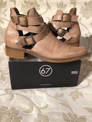 ღ 67 Designer Leder Ankle Boots Blogger Style beige nude Gr.40 ღ