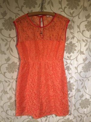 ღ Romantisches Kleid Spitze Koralle Hochzeit Sommerkleid Rückenausschnitt Gr. 40 ღ