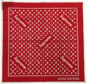 0000 Louis Vuitton X Supreme Monogram Bandana in Rot Tuch, Stola, Schal