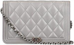 Chanel Sac bandoulière gris-argenté cuir