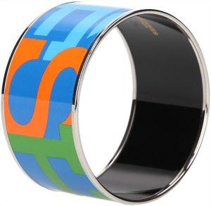 0034 Hermès extra-breiter, bedruckter Armreif, Armband aus Email mit Palladiumauflage
