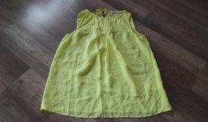 0039 Italy Bluse Seide Seidenbluse Seidentop Blusentop Neon Gelb Neongelb