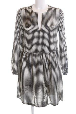 0039 Italy Blusenkleid schwarz-weiß Allover-Druck Casual-Look