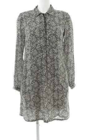 0039 Italy Robe chemisier blanc-noir imprimé allover style d'affaires