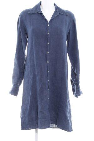 0039 Italy Robe chemisier bleu foncé style décontracté