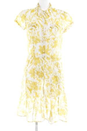 0039 Italy Blusenkleid dunkelgelb-weiß Blumenmuster Romantik-Look