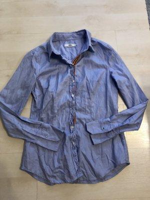 0039 Italy Gr.M 38 Hellblaue Bluse Rüschen