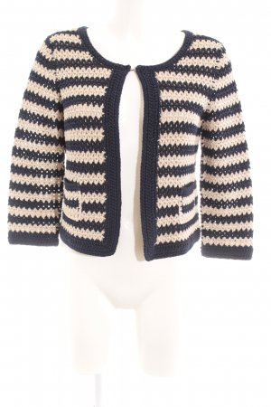 0039 Italy Cardigan all'uncinetto blu scuro-crema motivo a righe stile casual