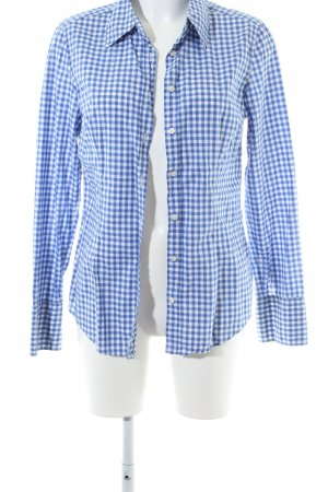 0039 Italy Shirt Blouse blue-white check pattern business style