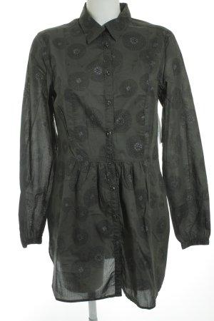 0039 Italy Hemd-Bluse dunkelgrün-schwarz Motivdruck minimalistischer Stil