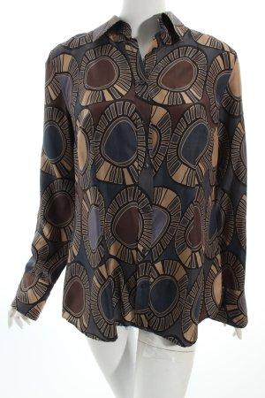 0039 Italy Hemd-Bluse grafisches Muster Metallic-Optik