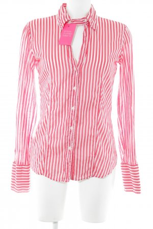 0039 Italy Hemd-Bluse rot-rosé Streifenmuster Business-Look