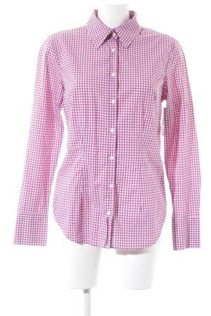 0039 Italy Hemd-Bluse weiß-violett Karomuster Business-Look